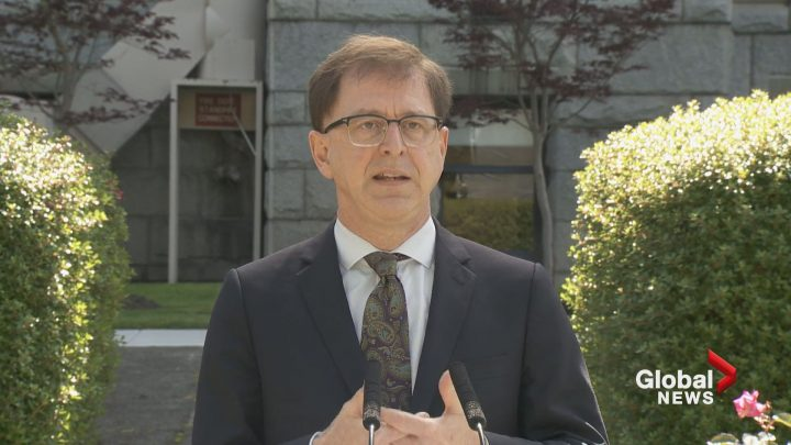 Health Minister Adrian Dix addresses the media on July 13, 2020.