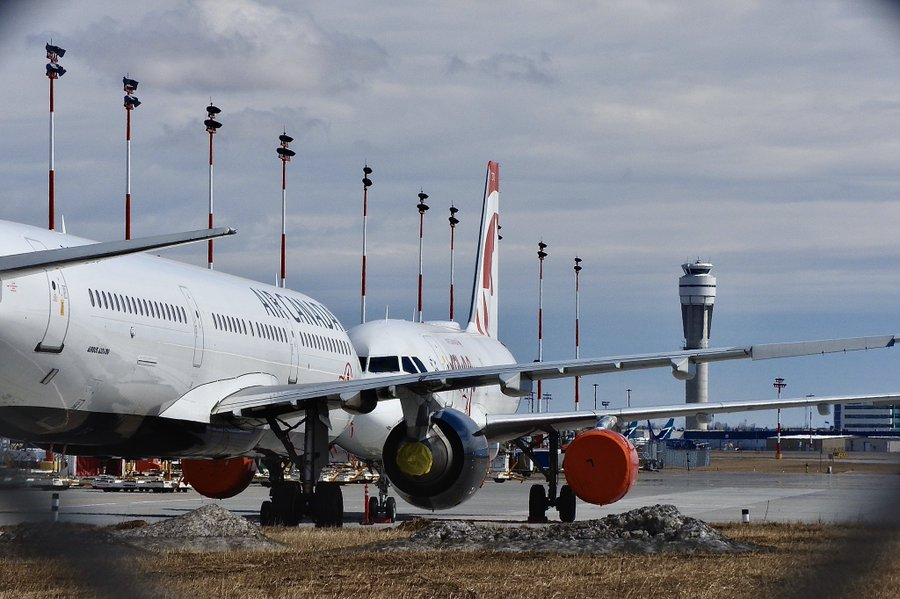 Airplanes are seen parked at YYC Calgary International Airport.