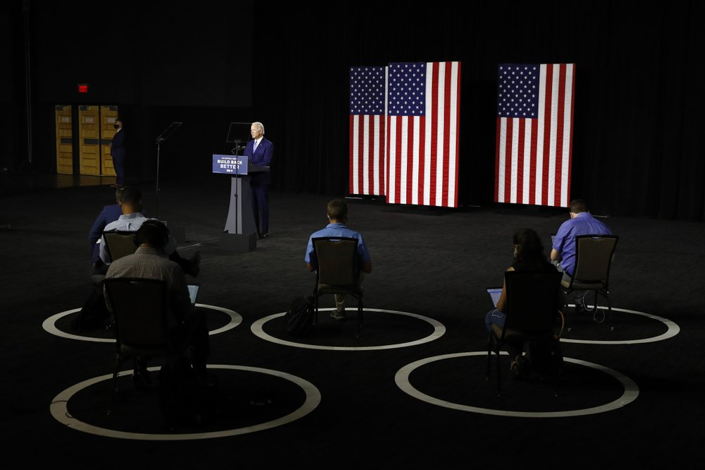 FILE - In this July 14, 2020, file photo Democratic presidential candidate, former Vice President Joe Biden speaks during a campaign event in Wilmington, Del.