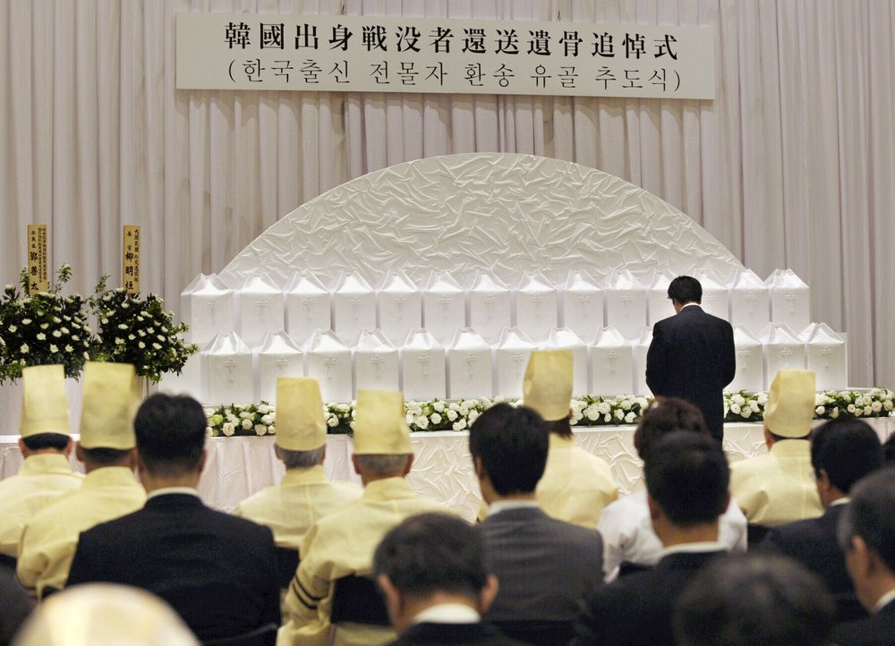 A ceremony to commemorate the returning to South Korea the remains of Korean solders who died while serving in the Japanese Army during World War II, is held at Buddhist temple, Yutenji, in Tokyo on May 18, 2010. About 700 remains of the Korean war-dead have been separately stored at the temple. Health and welfare ministry officials say they are the only remains of the former Korean soldiers that they are aware of. More than half of the 700 are from North Korea. Several hundred remains had been previously returned to their homes through diplomatic arrangement, but talks have been stalled in recent years as diplomatic relations have soured over Japan's wartime actions.