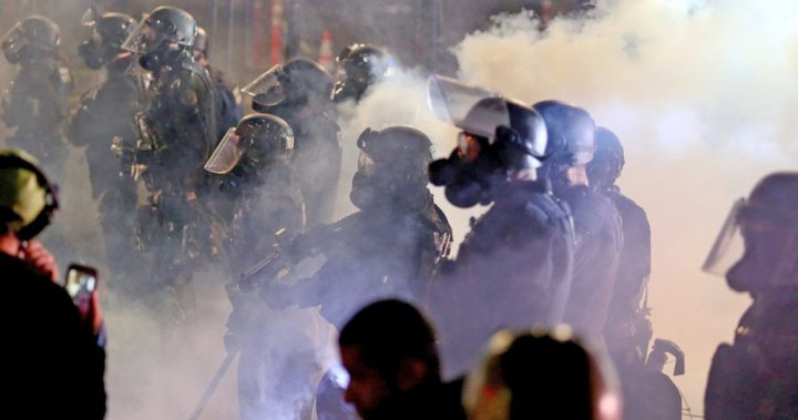 Police in Portland declare unlawful assembly as protests continue
