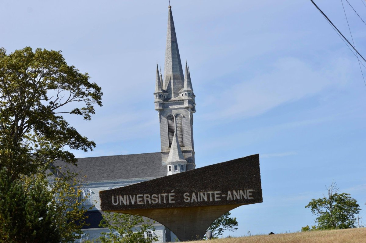 File - The sign for Université Sainte-Anne in Church Point, N.S.
