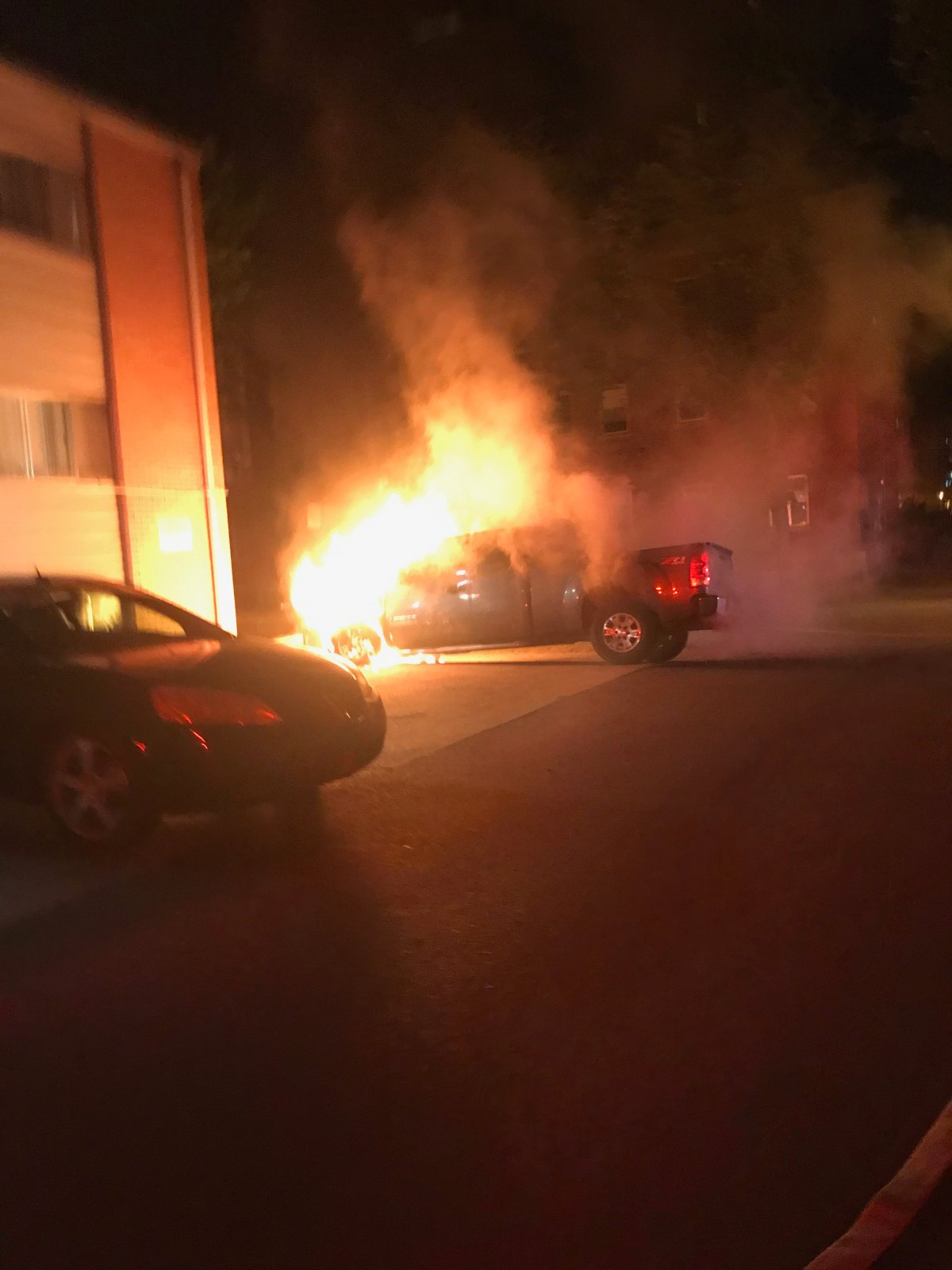 A GMC truck caught on fire Saturday morning in downtown Saskatoon, according to officials.