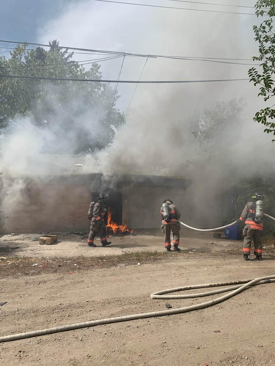 Firefighters responded to the 100 block of Avenue Q South just after 1:00 p.m. for a report of a garage fire.