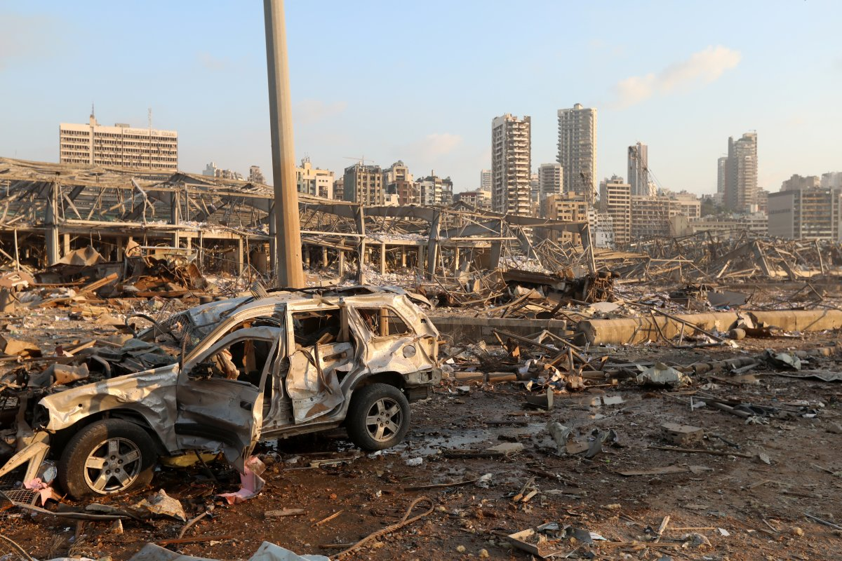A damaged vehicle is seen at the site of an explosion in Beirut, Lebanon August 4, 2020.