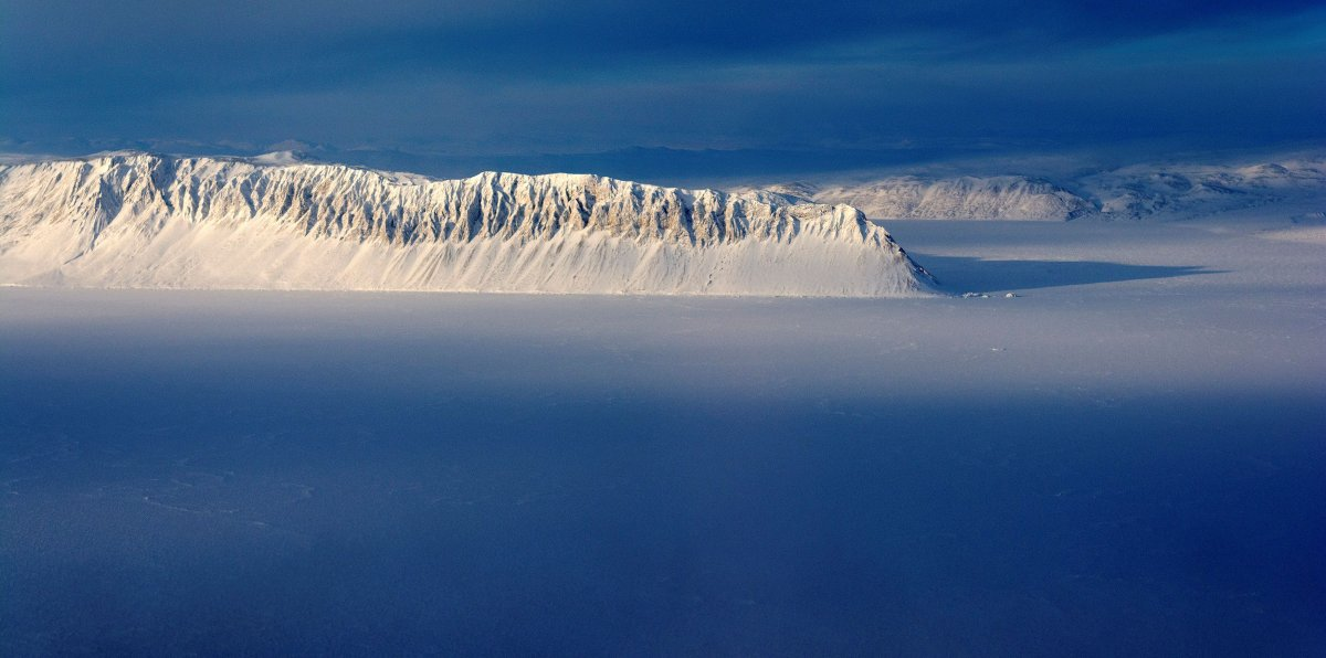 FILE PHOTO: Eureka Sound on Ellesmere Island in the Canadian Arctic is seen in a NASA Operation IceBridge survey picture taken March 25, 2014.
