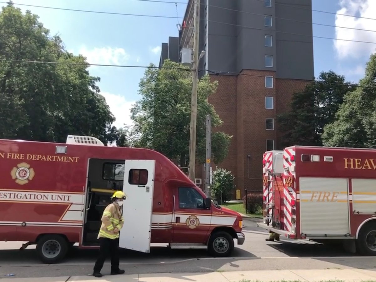 Crews responded to the scene on Simcoe Street around 10 a.m. Tuesday for a fire on the eighth floor.