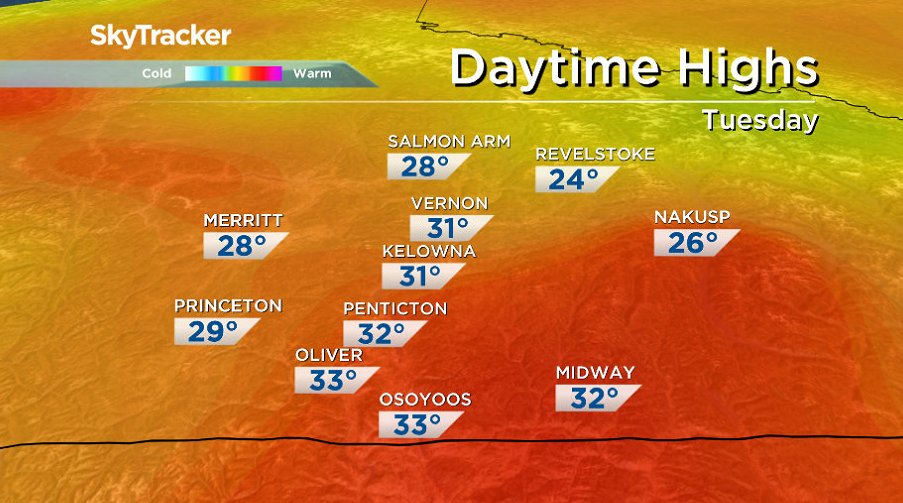 30 degree heat returns to the Okanagan weather forecast for the first day of September.