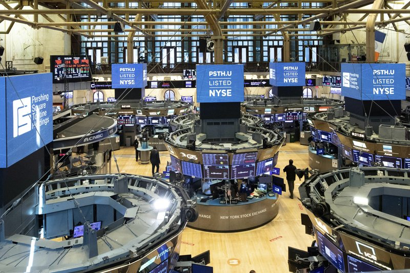 FILE - This July 22, 2020 photo provided by the New York Stock Exchange shows the trading floor in New York. The S&P 500 is once again flirting with its record levels, as stocks drift a bit higher on Wall Street Tuesday, Aug. 18.