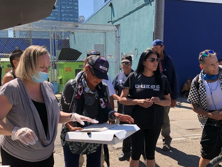 Members of the Vegas Golden Knights reached out to Boyle Street Community Services to arrange for a pizza meal for some vulnerable Edmontonians.