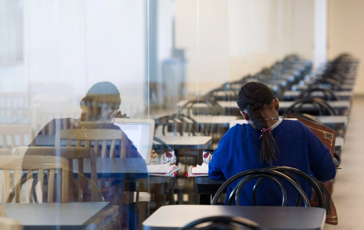 A young woman studies at the College de Maisonneuve in Montreal, Sunday, March 13, 2016.