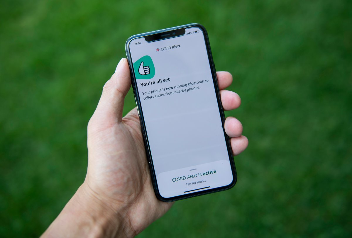 The COVID Alert app is seen on an iPhone in Ottawa, on Friday, July 31, 2020. The app tracks the locations of phones relative to other phones, and notifies users if they have been in proximity to another app user who has tested positive for COVID-19.
