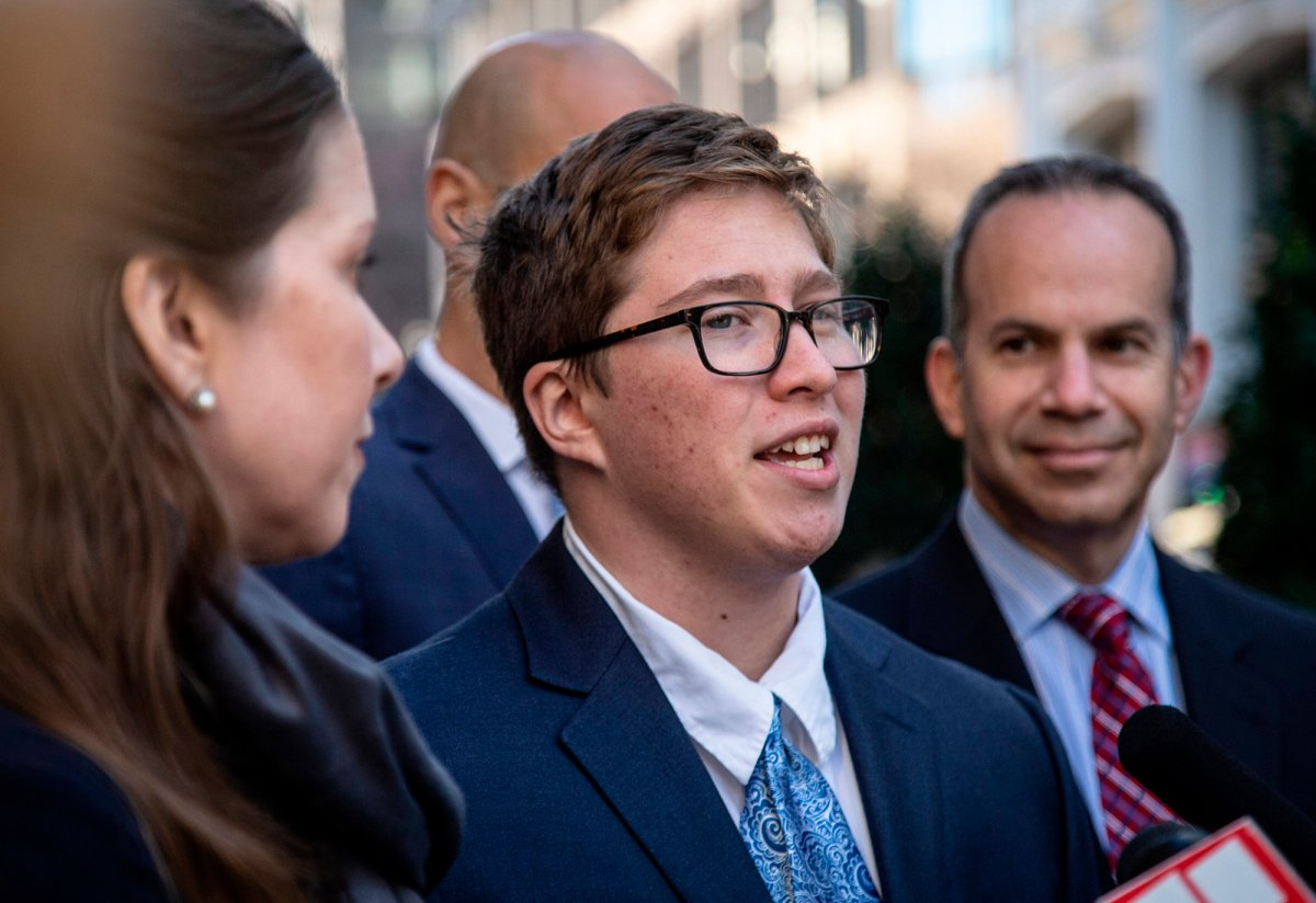 In this Dec. 5, 2019 file photo, transgender student Drew Adams speaks with reporters outside of the 11th Circuit Court of Appeals in Atlanta.