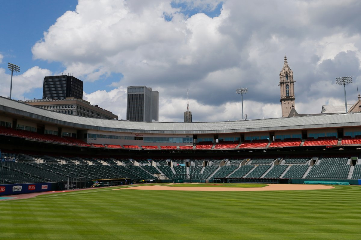 FILE - In this July 24, 2020, file photo, Sahlen Field, home of the Toronto Blue Jays' Triple-A affiliate, in Buffalo, N.Y., is viewed. The Blue Jays will walk onto the field Tuesday, Aug. 11, 2020, as the host team for the first time in 2020.