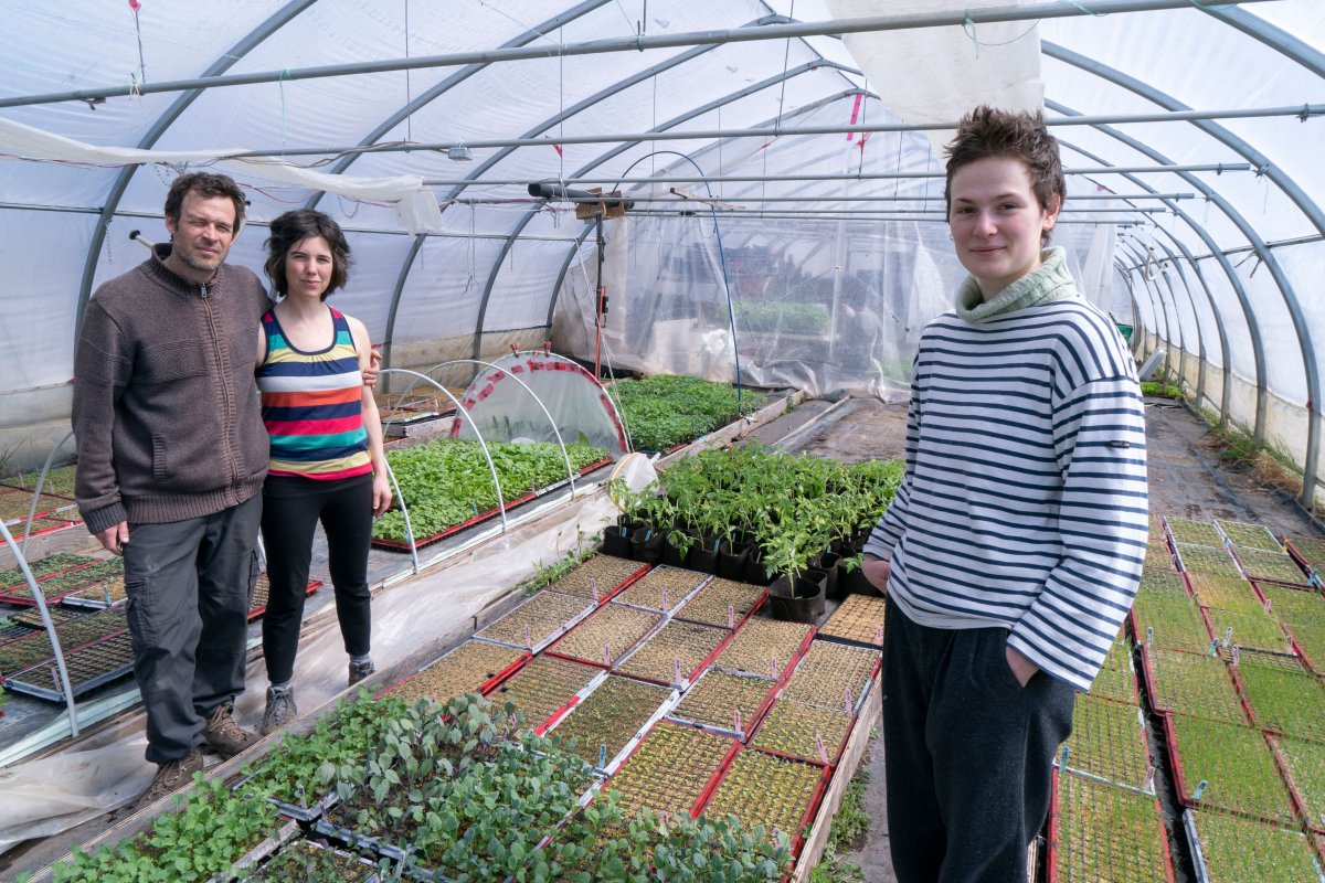 Farm owners Francois Daoust and Melina Plante, left, are seen in their greenhouse with summer employee Florence Lachapelle in Havelock, Que., on Thursday, April 23, 2020.