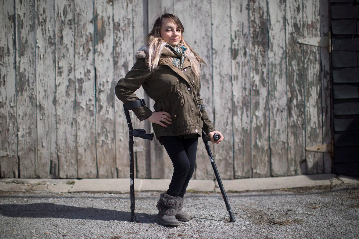 "A Toronto restaurant discriminated against a woman who uses mobility devices and ""publicly humiliated"" her by refusing to let her use its bathroom four years ago, the Human Rights Tribunal of Ontario has ruled. Haily Butler-Henderson is photographed near her Toronto home , Friday, March 17, 2017."