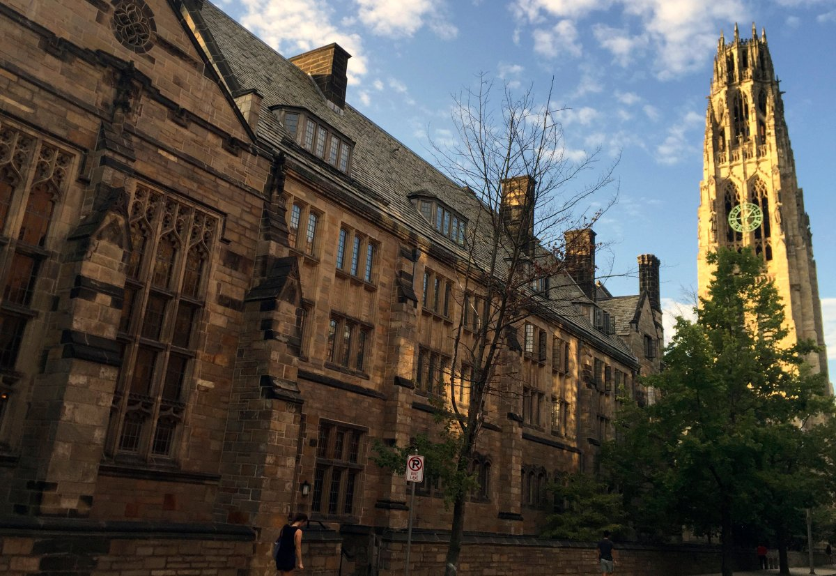 FILE - This Sept. 9, 2016 photo shows Harkness Tower on the campus of Yale University in New Haven, Conn.