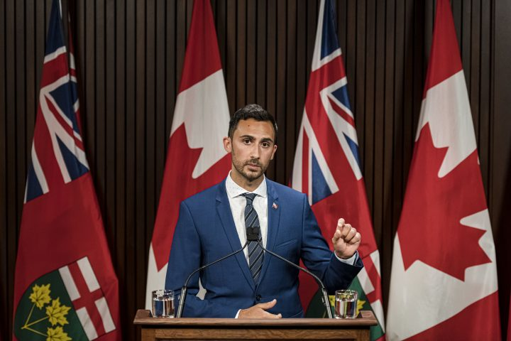 Ontario Minister of Education, Stephen Lecce makes an announcement at Queen's Park in Toronto, on Thurs., Aug, 13, 2020.