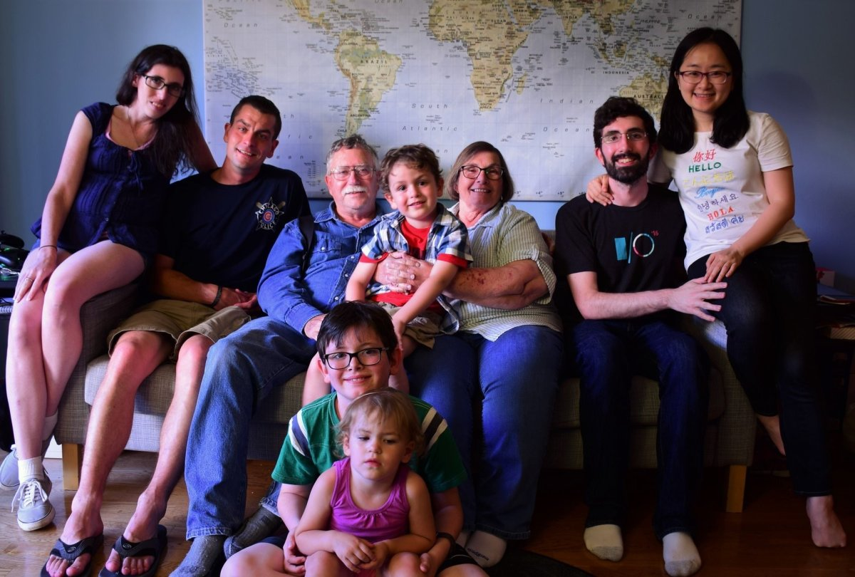 John and Donna McCall are pictured in this family handout photo from last fall with their family. The McCall children, Ian (second from right) and Meghan (far left), are American and were not permitted to come to Canada to see their mother before she died.