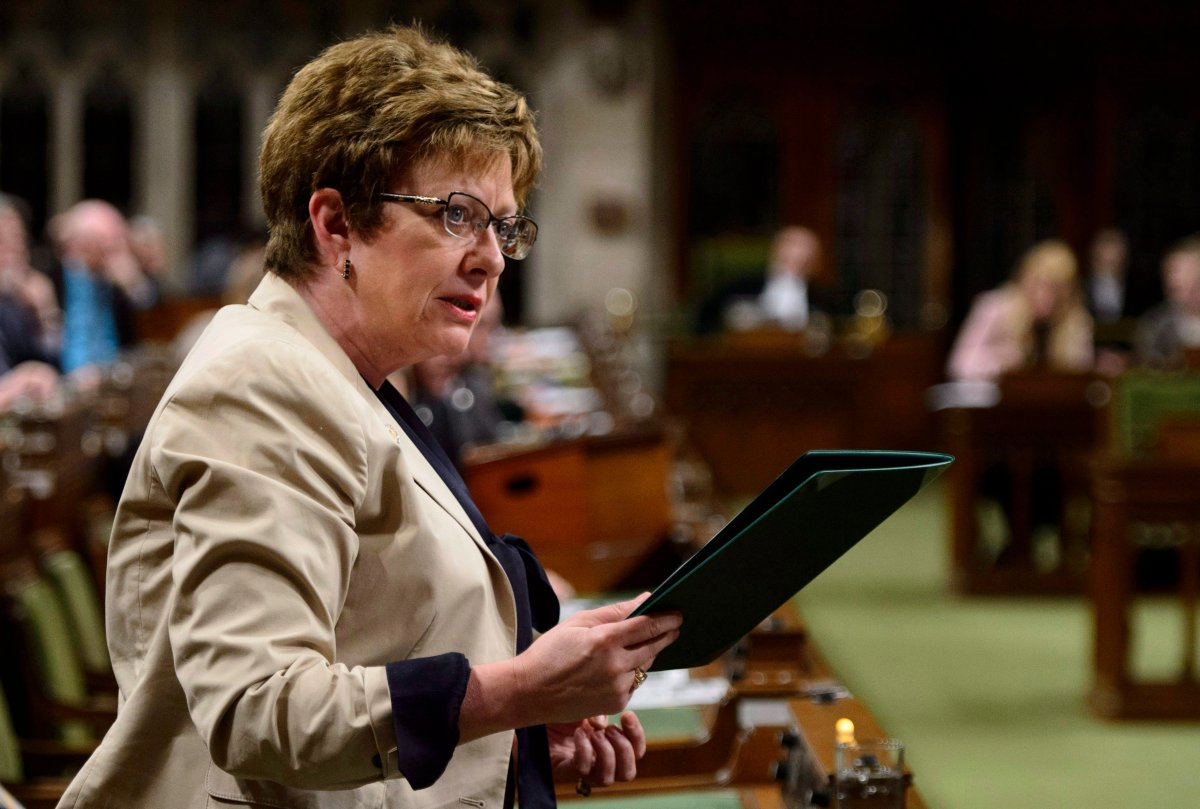 Conservative MP Diane Finley stands during question period in the House of Commons on Parliament Hill in Ottawa on May 10, 2018.