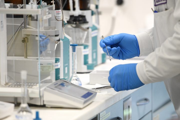 A general view of an analytical chemist at AstraZeneca's headquarters in Sydney, Australia, Aug. 19, 2020.