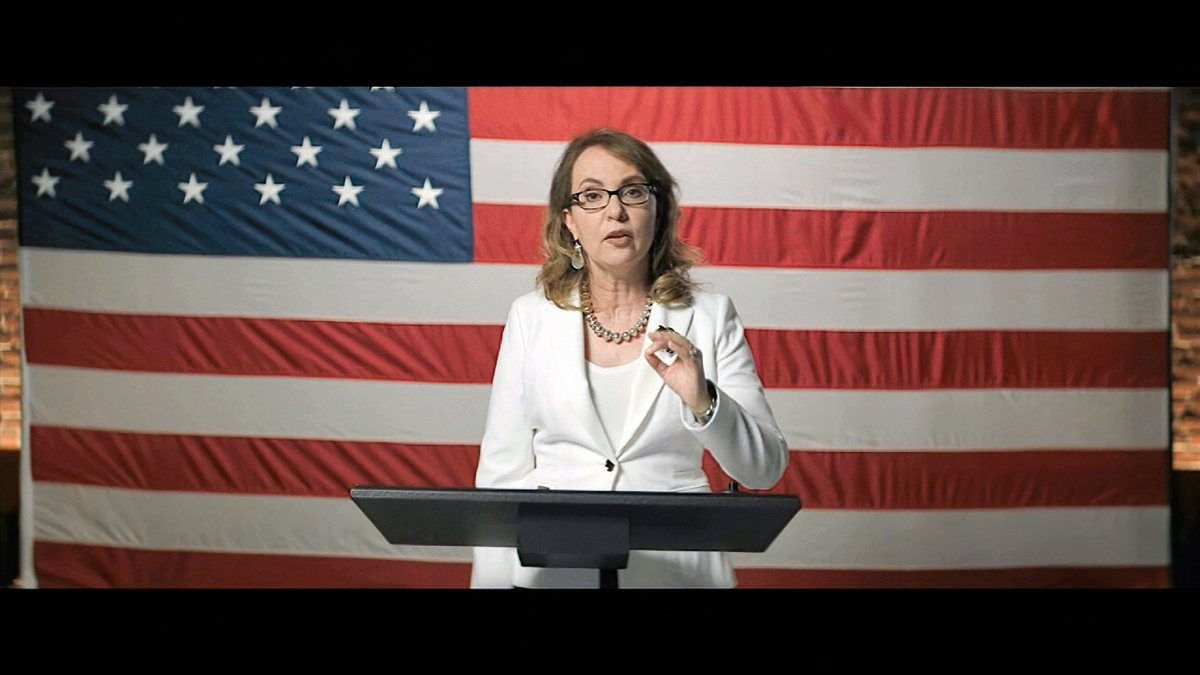 In this image from video, former Rep. Gabrielle Giffords, D-Ariz., speaks during the third night of the Democratic National Convention on Wednesday, Aug. 19, 2020. (Democratic National Convention via AP).