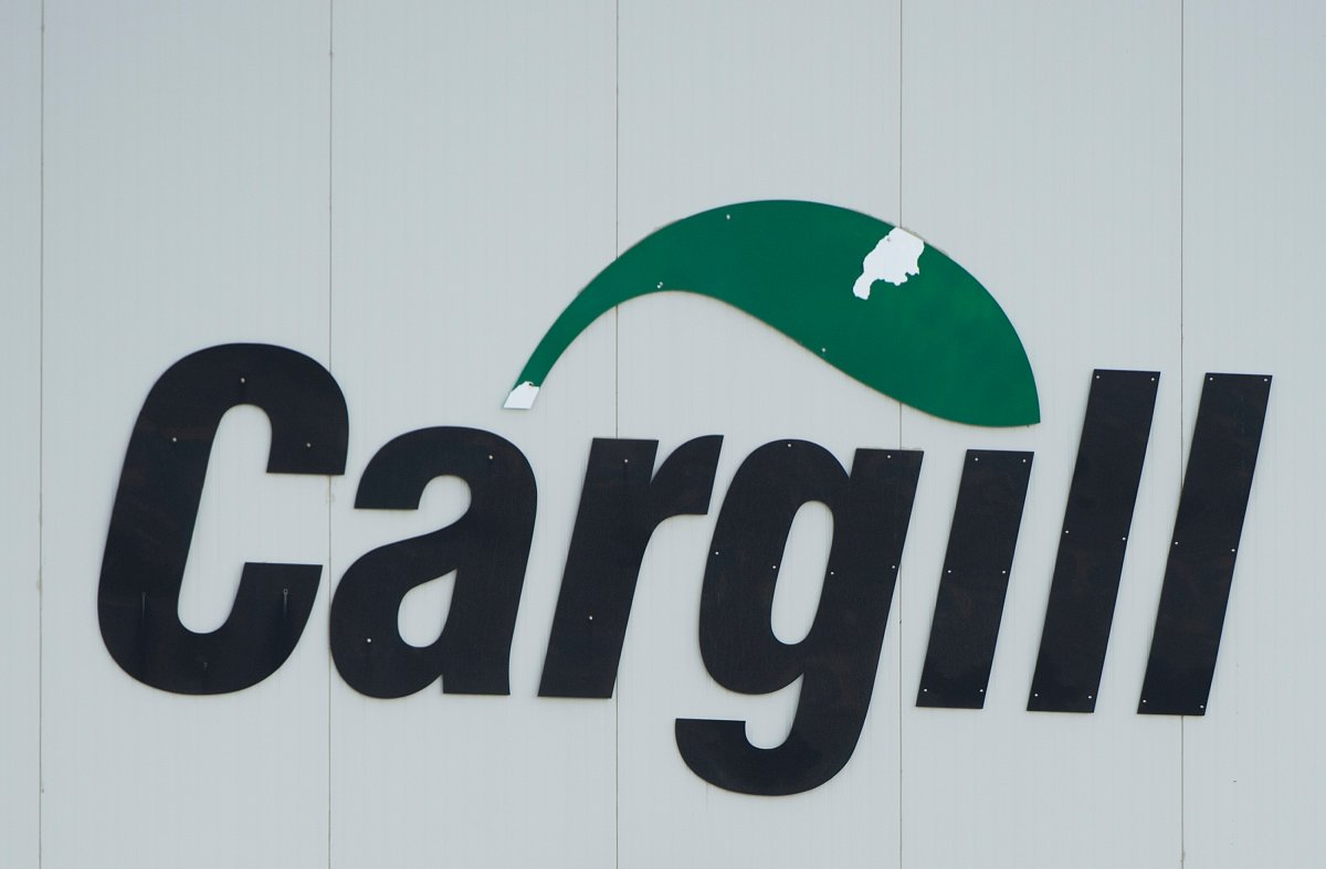 A Cargill sign is shown at one of its meat processing plants in Chambly, Que. Sunday, May 10, 2020. An outbreak of COVID-19 at a Cargill meat processing facility in Calgary appears to be under control.