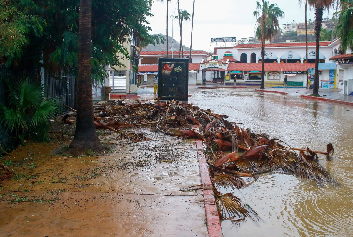 View of the damage and flooding caused by Tropical Storm Genevieve in Cabo San Lucas, Baja California, Mexico, 20 August 2020. Cyclone Genevieve decreased to a tropical storm from a category 1 hurricane, but it will continue its movement in the Mexican Pacific parallel to the Baja California Peninsula, which remains on alert.
