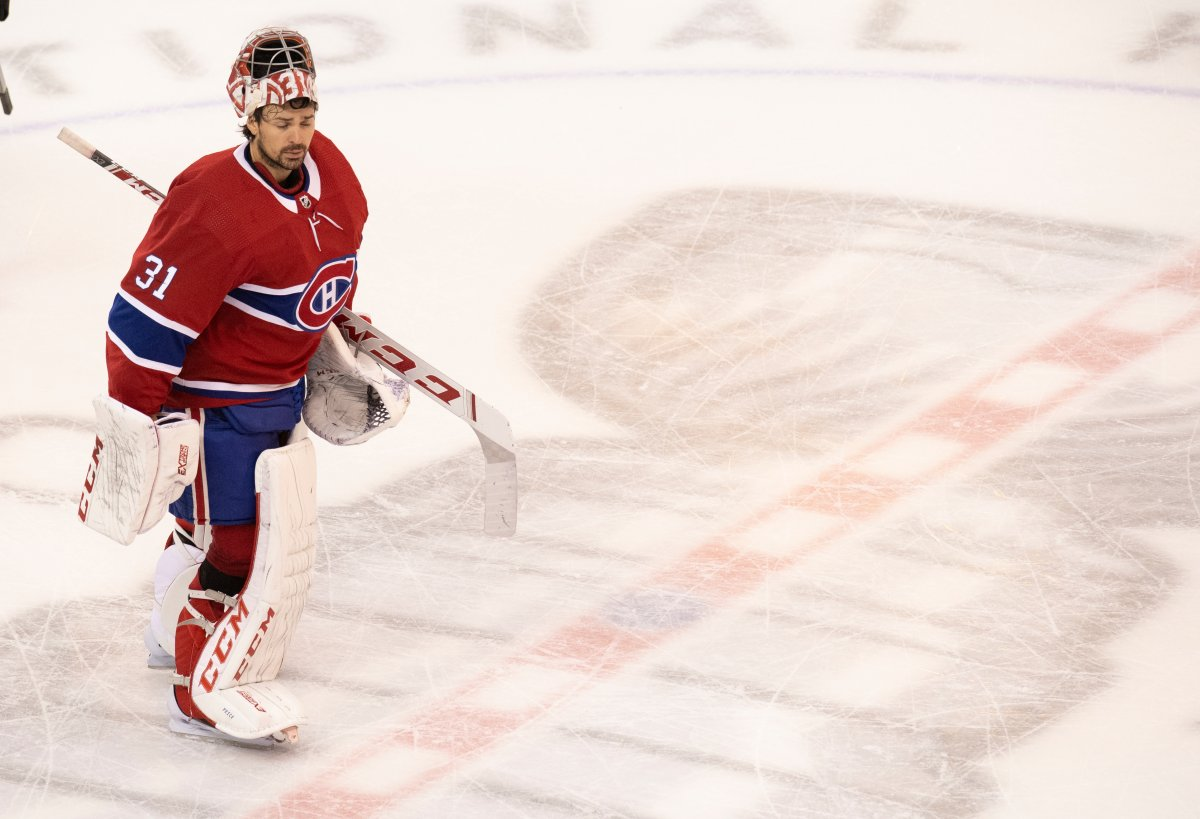 Montreal Canadiens goaltender Carey Price (31) skates over the Stanley Cup logo at centre ice after the Flyers defeated the Canadiens in NHL Eastern Conference Stanley Cup first round playoff action in Toronto on Friday, August 21, 2020.