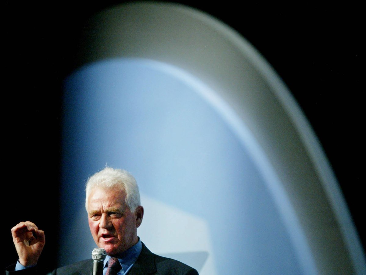 Magna Chairman and founder Frank Stronach speaks to shareholders at the company's annual meeting in Toronto Thursday May 8, 2003.
