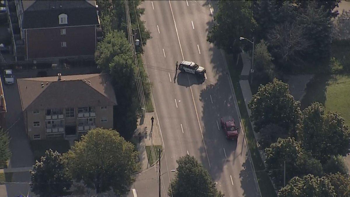 Aerial view of police on scene in Etobicoke.