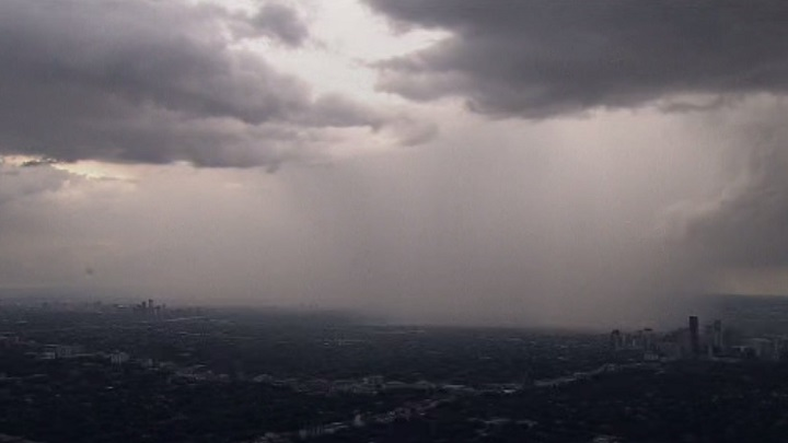 Rain falls during a storm in Toronto on Tuesday.