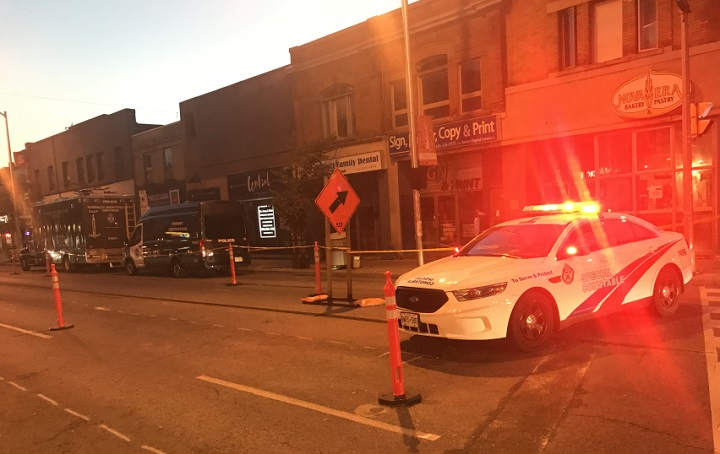 Police block off part of Bloor Street West for a stabbing investigation Tuesday evening.