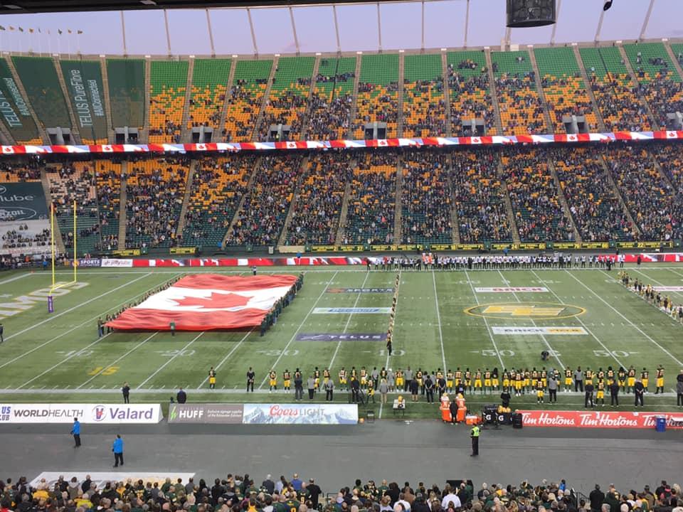 The national anthem at Commonwealth Stadium on Friday, September 20, 2019.