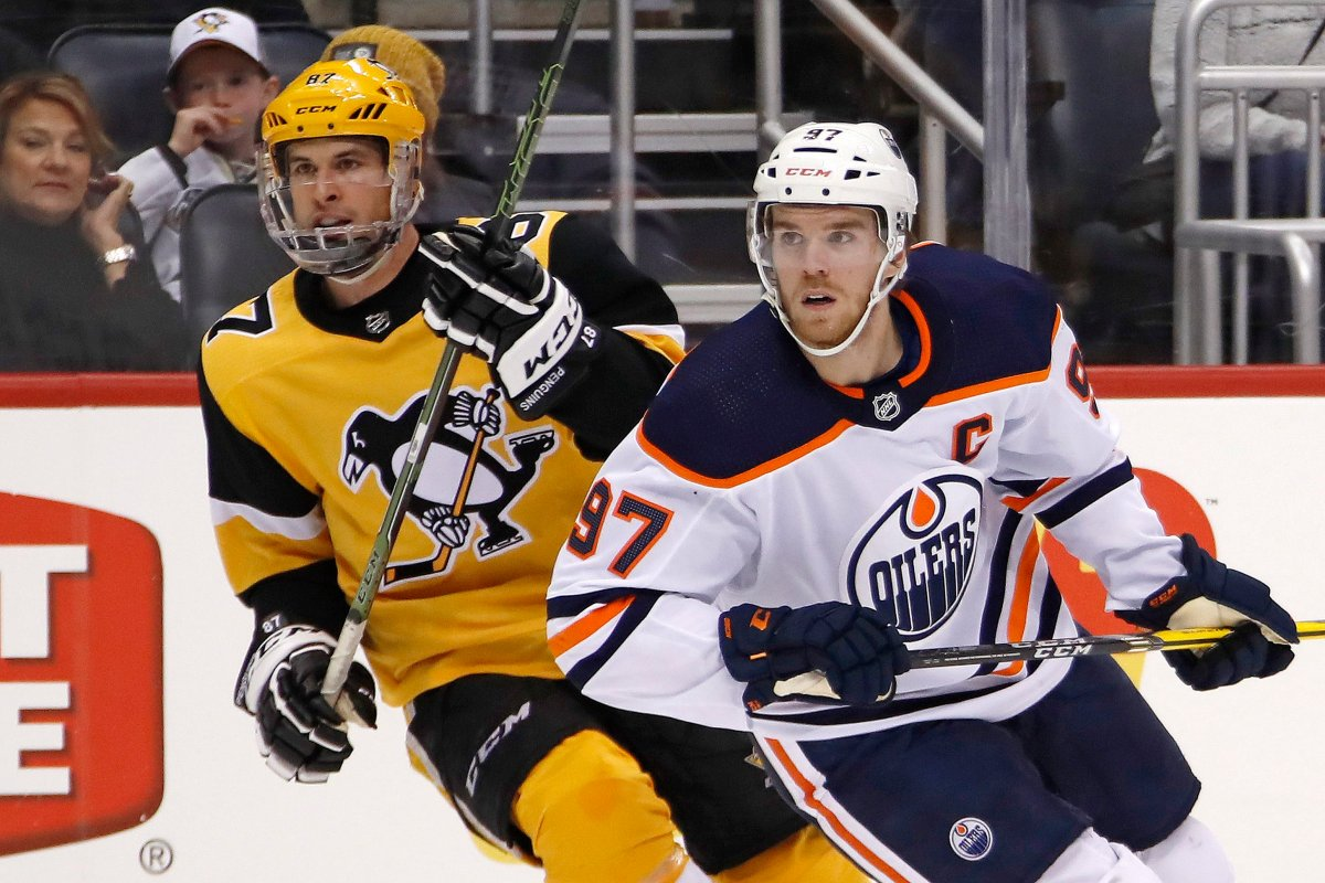 Edmonton Oilers' Connor McDavid (97) and Pittsburgh Penguins' Sidney Crosby (87) could both be eliminated in Round 1 of the NHL playoffs.