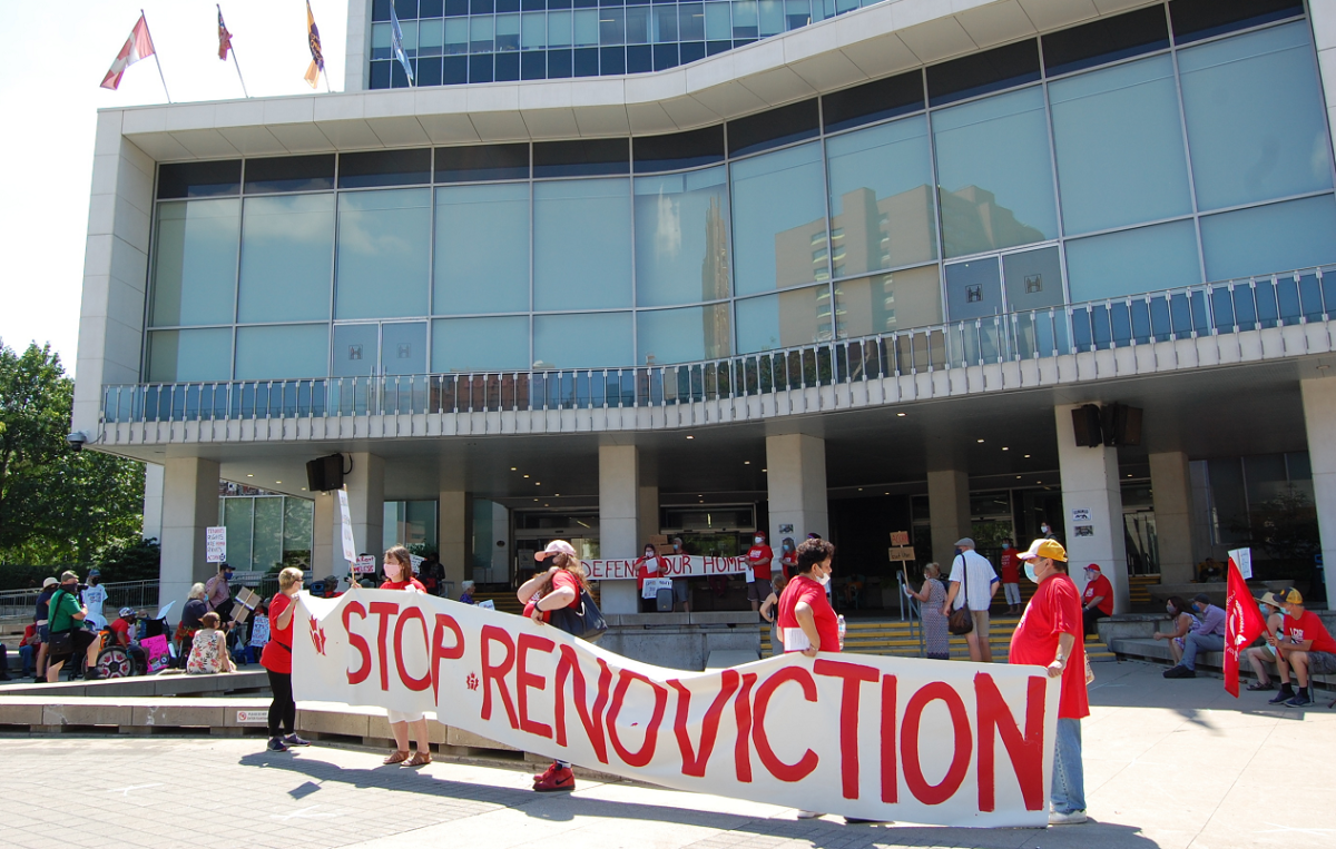 A tenants rights group rallied in front of Hamilton city hall, calling for councillors to implement a bylaw to prevent renovictions.