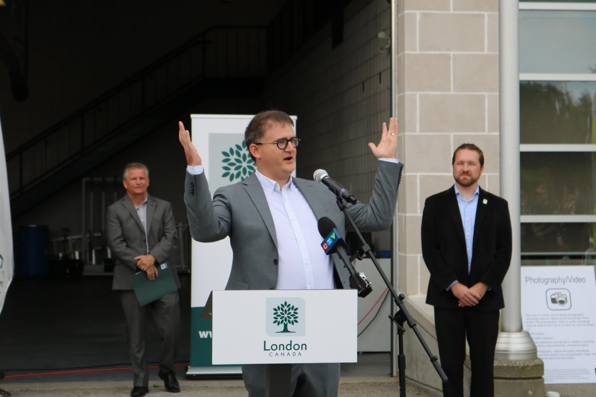 Jesse Helmer, Ward 4 London city councillor at a ceremony recognizing the one-year anniversary of the Woodman Avenue explosion, Aug. 14, 2020.