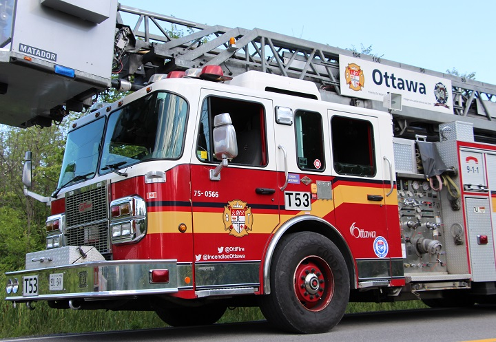 Ottawa fire crews say a propane line on Gallagher Road caught fire in a lightning storm on Tuesday night.
