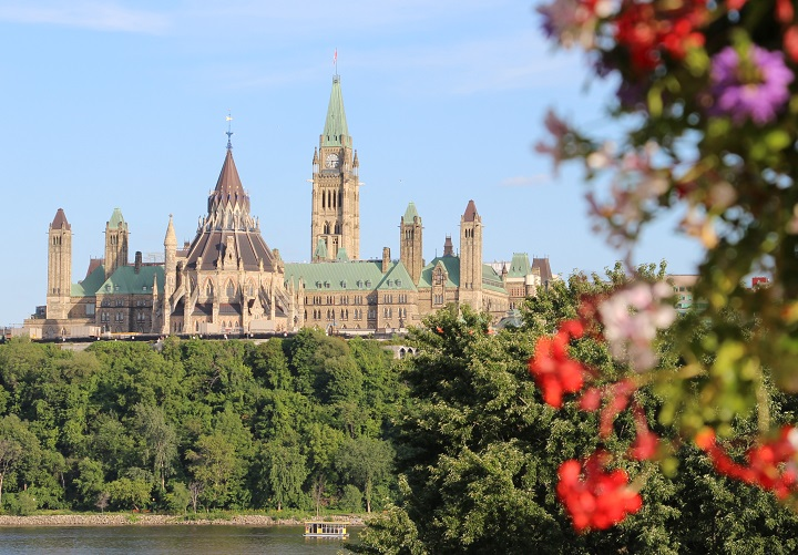 Parliament Hill in Ottawa as seen from Hull, Quebec.