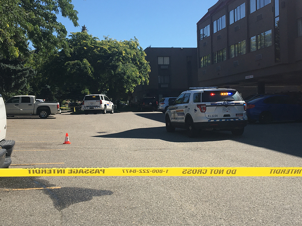 Police tape surrounded part of the Ramada Hotel in Kelowna on Wednesday following a report of shots fired. According to police, an abandoned vehicle was found roughly two hours after the shooting, but that the suspect wasn't located.