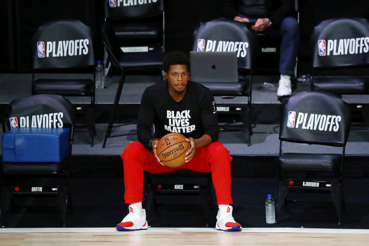 Toronto Raptors guard Kyle Lowry (7) looks on before Game 3 of an NBA basketball first-round playoff series against the Brooklyn Nets, Friday, Aug. 21, 2020, in Lake Buena Vista, Fla.
