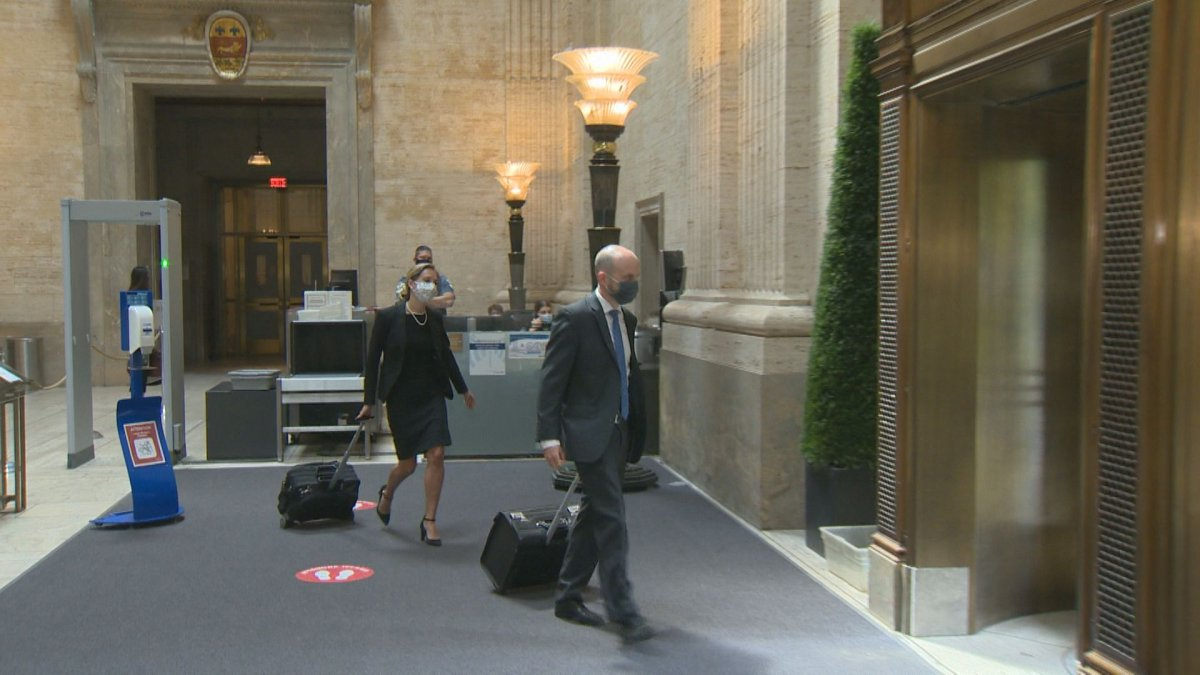 Quebec Government lawyers Alexandra Hodder and Samuel Chayer leave the Quebec Court of Appeal on Thursday. August 20, 2020.