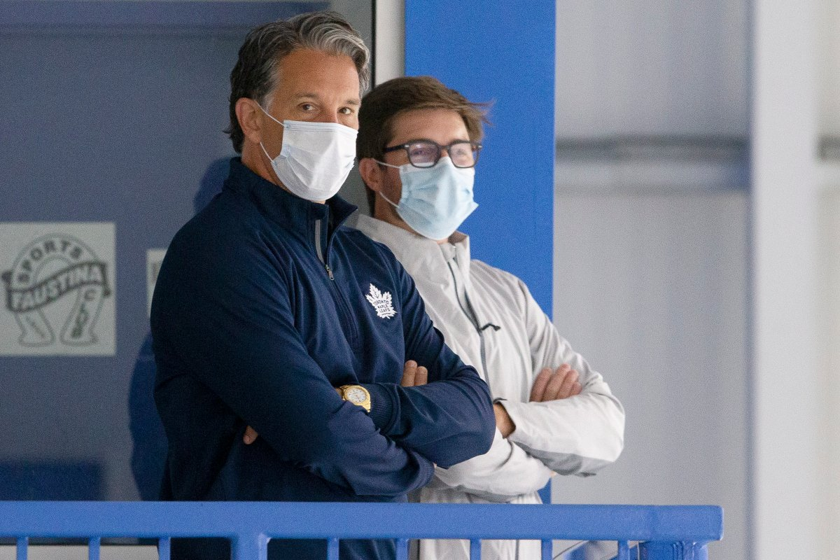 Toronto Maple Leafs President Brendan Shanahan (left) and General Manager Kyle Dubas at training camp in Toronto, on July 13, 2020, ahead of the resumption of the NHL season.