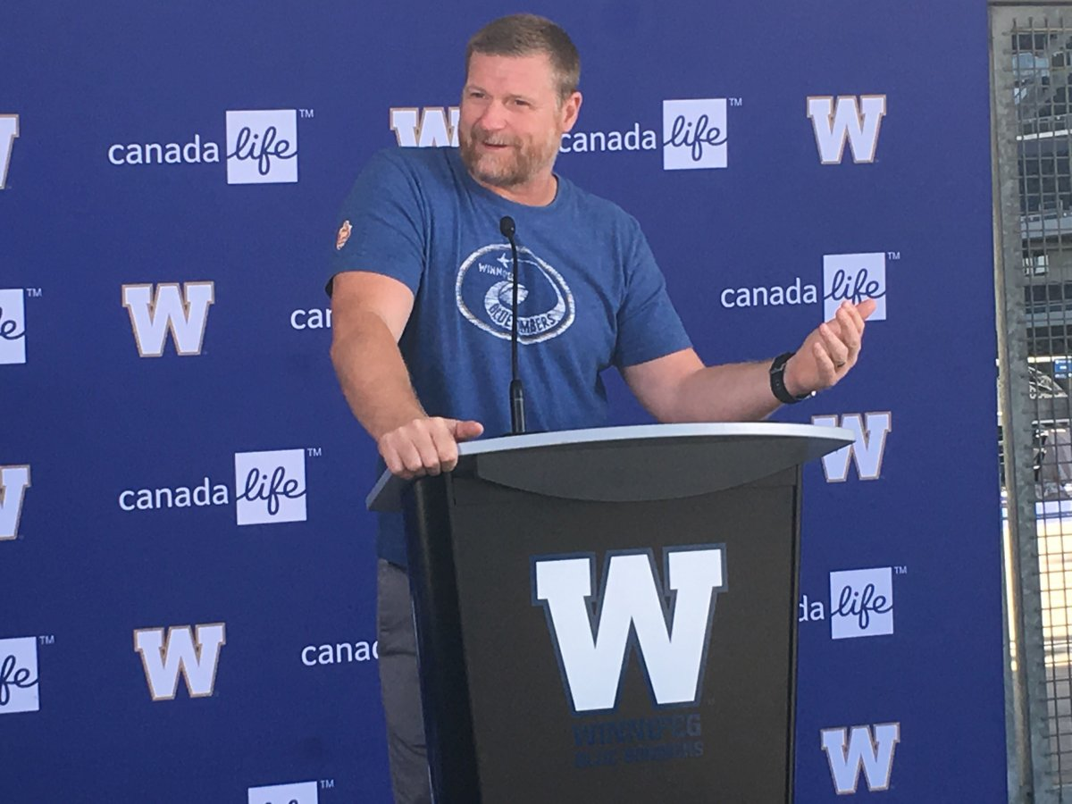Winnipeg Blue Bombers head coach Mike O'Shea addresses the media outside IG Field about the cancellation of the CFL season on Wednesday, Aug. 19, 2020.