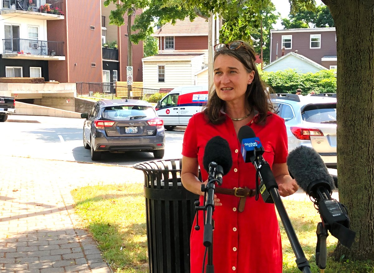 Patty Cuttell, executive director of the North End Business Association speaks with reporters in Halifax on Aug. 13, 2020.