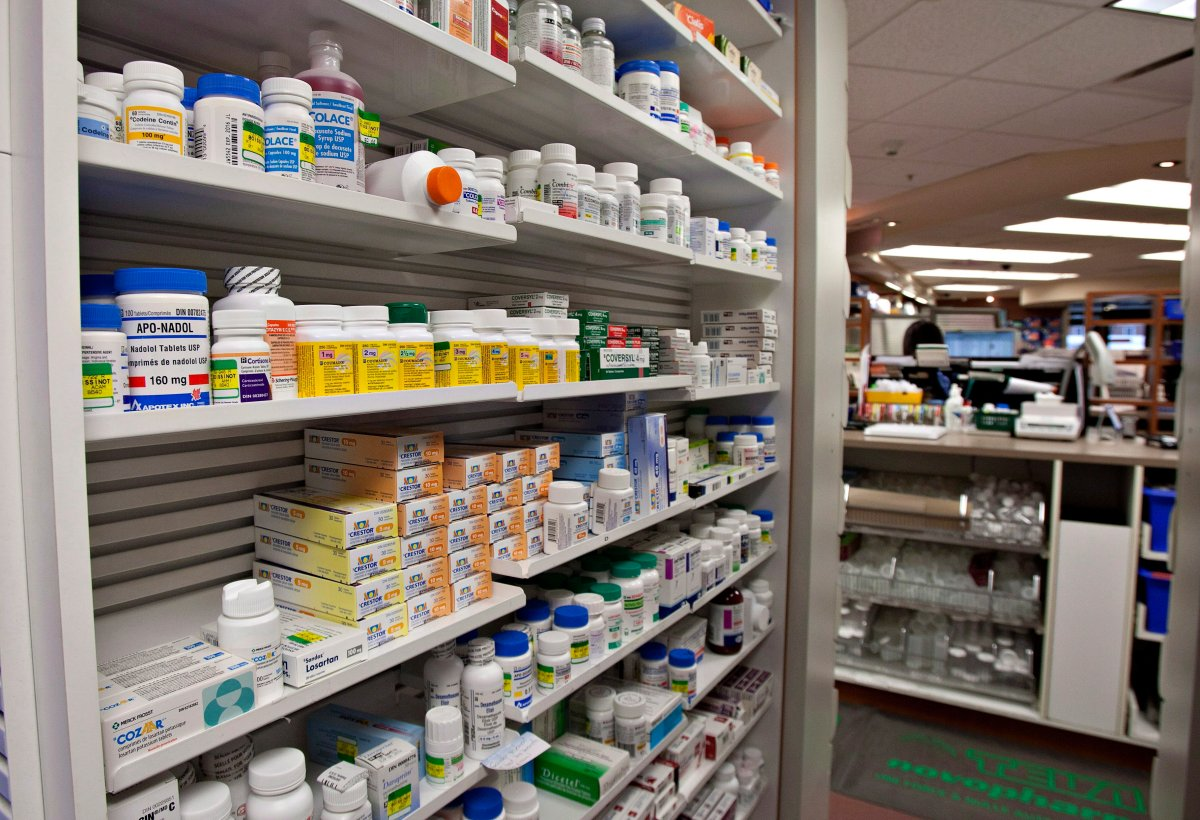 Hamilton police say a large number of prescription drugs were stolen from a Stoney Creek pharmacy.
