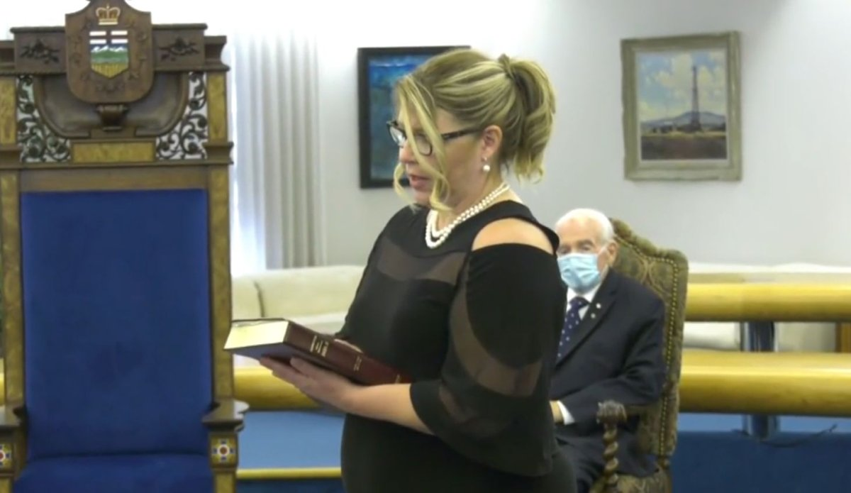 Tracy Allard sworn in as minister of Municipal Affairs Tuesday, Aug. 25, 2020.
