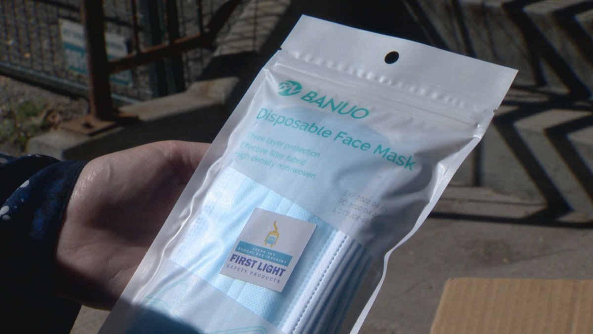 A package of face masks donated to a pair of Winnipeg non-profits.