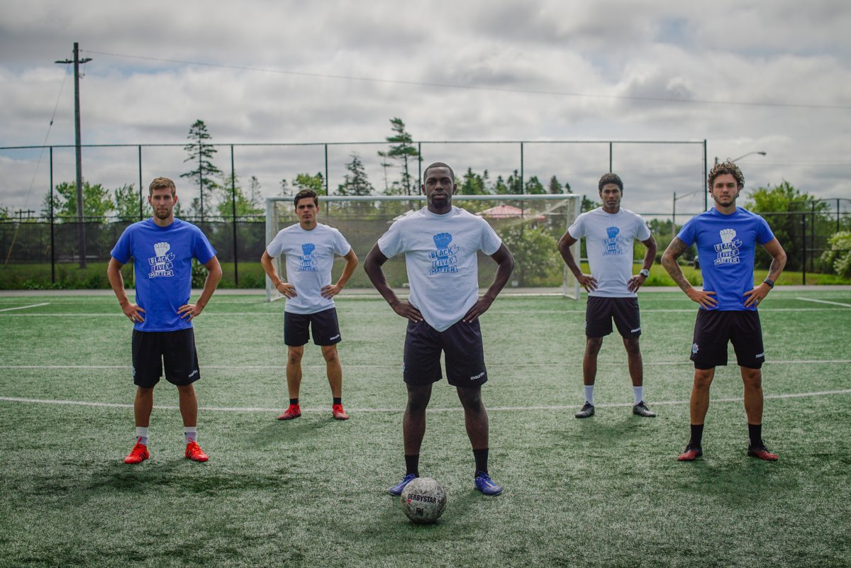 (Left to right) Wanderers players Louis Béland-Goyette, Mateo Restrepo, Chrisnovic N'sa, Andre Rampersad and João Morelli.