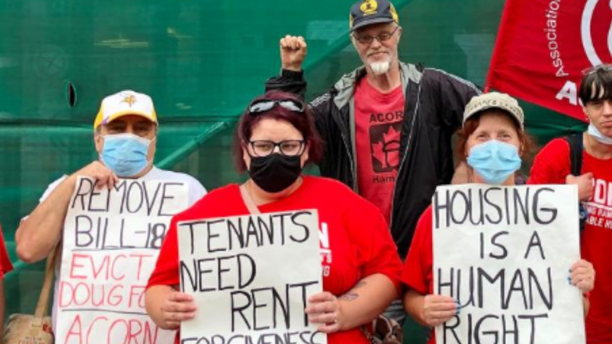 Acorn's Hamilton chapter had another demonstration on King Street West Thursday August 6, 2020, calling for a repeal to bill 184 – known as the protecting tenants and strengthening community housing act.